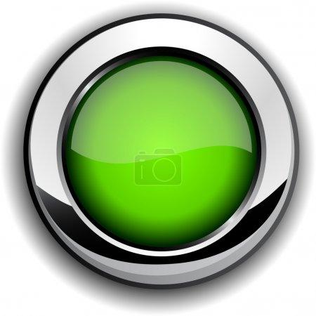 Illustration for Green metallic button. Vector illustration. - Royalty Free Image