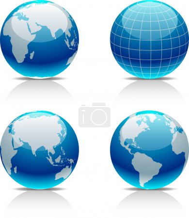 Illustration for Glossy globe icons. Vector illustration. - Royalty Free Image