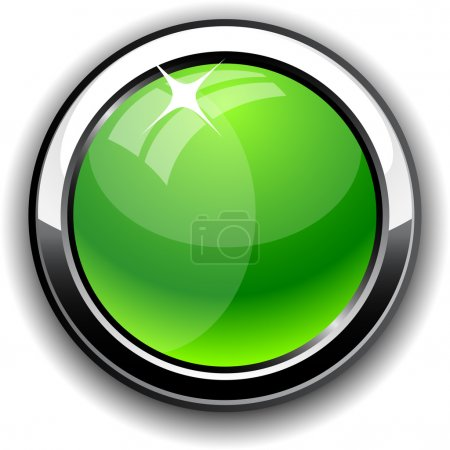 Illustration for Green glossy button. Vector illustration. - Royalty Free Image