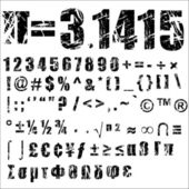 A set of personalised grunge numbers and symbols to use vectors isolated on white Completed with another alphabets set