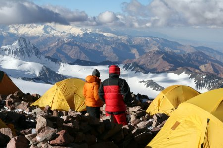 Alpine climbers acclimating at camp two of Aconcag...