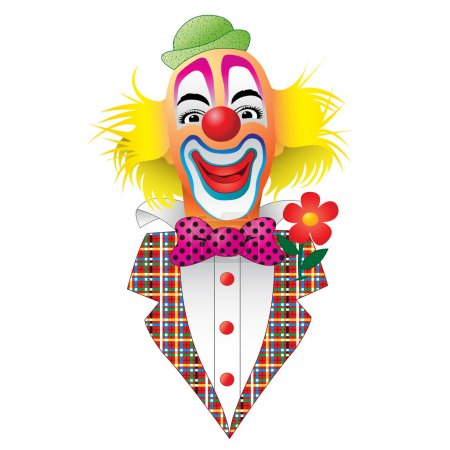 Illustration for A Circus Clown with Flower - Royalty Free Image