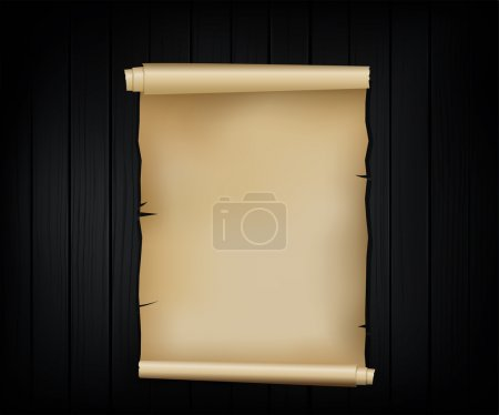 Illustration for Vector realistic illustration of the old scroll of the paper on the wooden background - Royalty Free Image