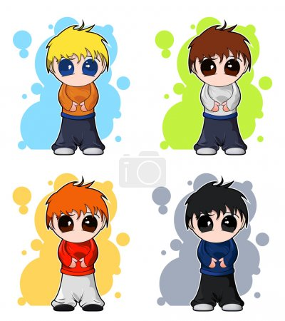 Illustration for Set of four colorful cute anime or manga boys decorated with abstract background - Royalty Free Image
