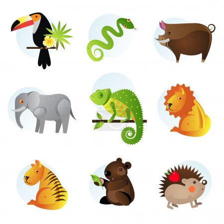 Illustration for Different bright jungle and safari animals - Royalty Free Image