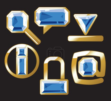 Gem icons with sapphire and gold