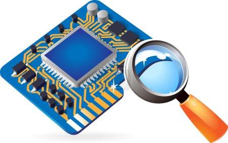 Illustration for Blue computer chipset under magnifying glass. Vector illustration. - Royalty Free Image