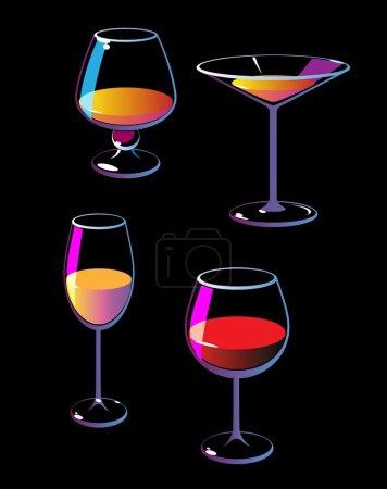 Illustration pour Verres à vin colorés sur fond noir. Illustration vectorielle . - image libre de droit