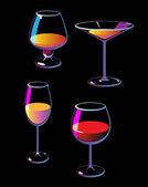 Wine champagne martini cognac