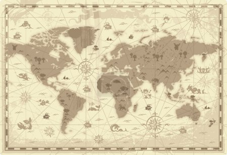 Illustration for Retro-styled map of the World with mountains and fantasy monsters. Colored in sepia. Vector illustration. - Royalty Free Image