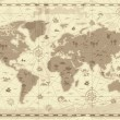 Retro-styled map of the World with mountains and f...