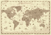 Retro-styled map of the World with mountains and fantasy monsters Colored in sepia Vector illustration