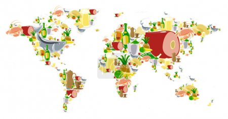 World map with food and drinks