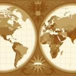 World map with retro-styled hemispheres, ornaments...