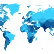 Detailed map of the World with countries in blue c...