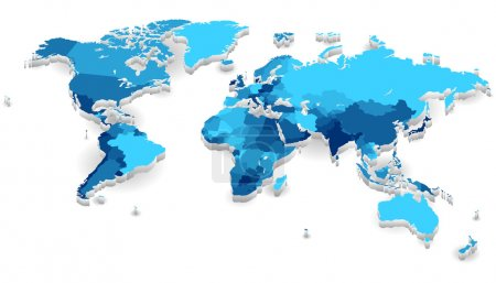 Illustration for World map with countries in cool colors. Vector illustration. - Royalty Free Image