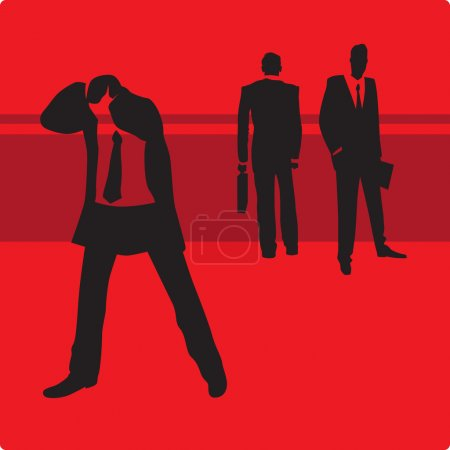 Illustration for Sad businessman in trouble. Vector illustration. - Royalty Free Image