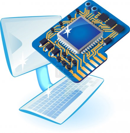 Illustration for Computer and chip set concept. Vector illustration. - Royalty Free Image
