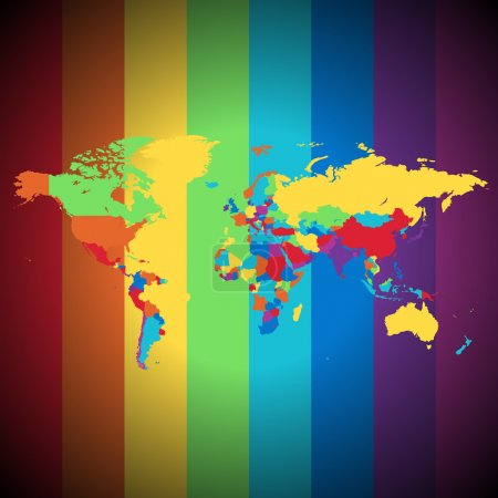 Illustration for Multicolored map of the World on striped background. Vector illustration. - Royalty Free Image