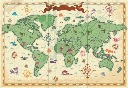 Illustration for Retro-styled map of the World with trees, volcanos, mountains and fantasy monsters. Vector illustration. - Royalty Free Image