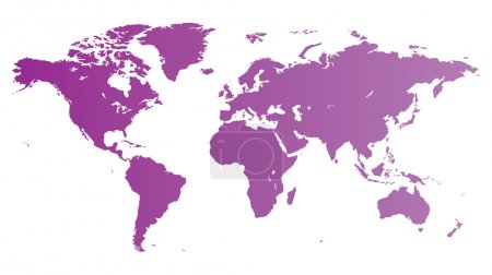 Illustration for High quality violet vector map of the World. - Royalty Free Image