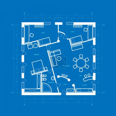 Illustration for Abstract blueprint background in blue and white colors. Vector illustration. - Royalty Free Image