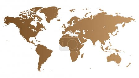 Illustration for Brown high quality vector map of the World. - Royalty Free Image