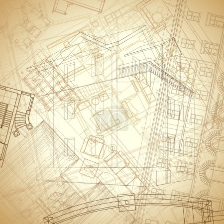 Photo pour Fond architectural abstrait aux couleurs sépia vintage. Illustration vectorielle . - image libre de droit