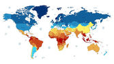Detailed vector World map of red blue yellow colors Names town marks and national borders are in separate layers