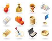 Isometric-style icons for awards