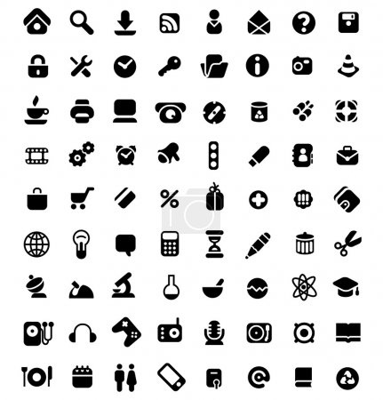 Illustration for Set of 72 icons for website, computer, business, shopping, science, education and music. Vector illustration. - Royalty Free Image