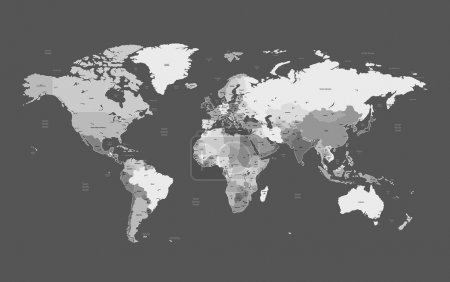 Illustration for Detailed vector World map of gray colors. Names, town marks and national borders are in separate layers. - Royalty Free Image