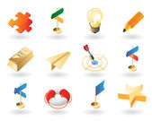 Isometric-style icons for creative business