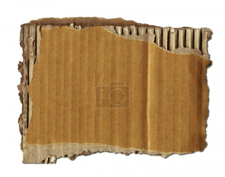 Photo for Old Cardboard Scrap Over White (+clipping path for easy background removing if needed) - Royalty Free Image