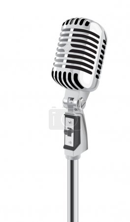 Photo for Retro Microphone Isolated Over White Background (vector) - Royalty Free Image