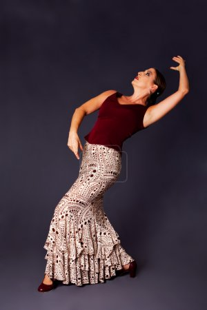 Photo for Beautiful female Flamenco dancer doing a typical line pose, wearing modern attire. Spanish woman dancing Flamenco in brown clothes with polka dots, isolated. - Royalty Free Image