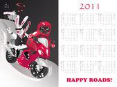 Calendar 2011 year of cat or rabbit vector illustration
