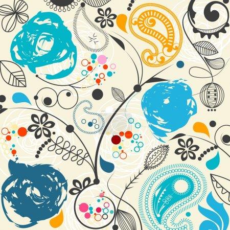 Photo pour Motif floral sans couture avec motif paisley - image libre de droit
