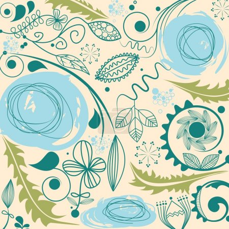 Illustration for A floral pattern in retro colors - Royalty Free Image