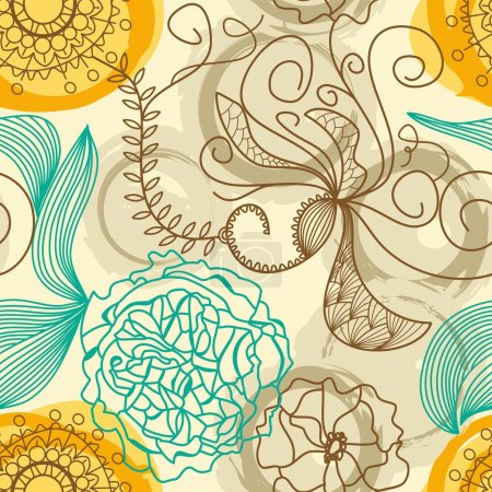 Illustration for Seamless pattern in retro colors - Royalty Free Image