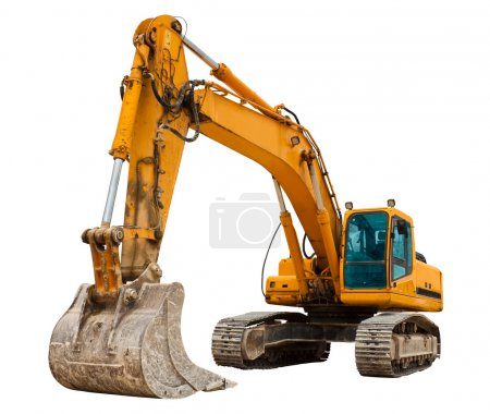 Yellow Excavator isolated on white