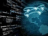 Digitální programový kód a mapa Ameriky