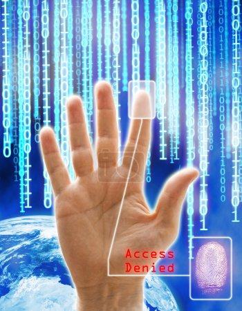 Photo pour Concept d'image de sécurité et de la technologie. toutes les images sont computering généré sauf la main qui est une photographie de physique. - image libre de droit