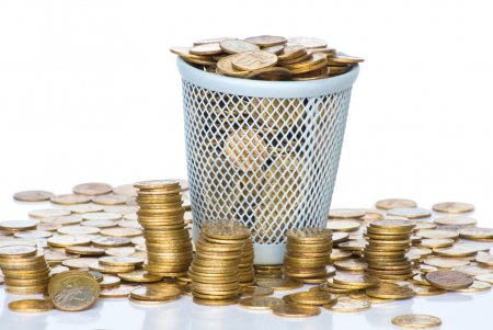 Heap of Soviet Union coins in canister.