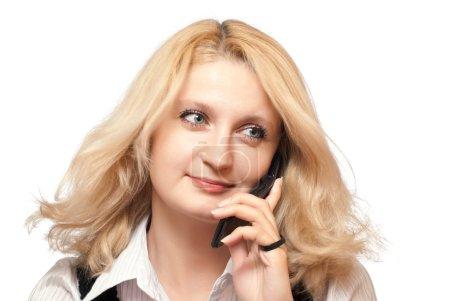 Romantic woman listens to phone