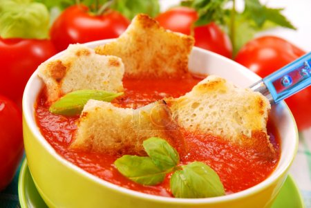 Tomato cream soup with croutons