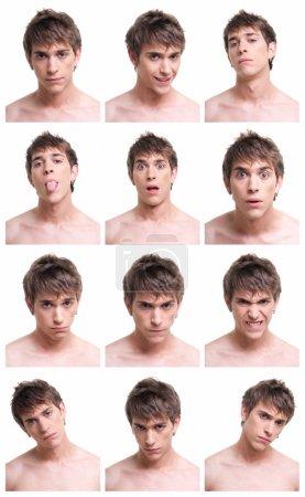 Photo pour Jeune homme visage expressions composite isolé sur fond blanc . - image libre de droit