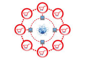 Online Shopping Network for Global Market Illustration in Vector