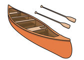 Canoe with Paddle in Vector Illustration