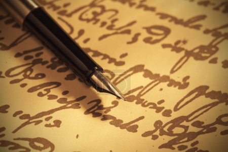 Pen on handwritten paper